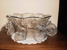 VINTAGE 18 PIECE PUNCH SET  IN SAVANNAH - CLEAR BY ANCHOR HOCKING