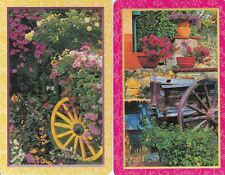 Genuine Swap/Playing Card - 2 SINGLE - GORGEOUS GARDENS & WAGON WHEELS