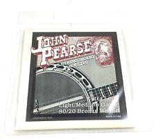 John Pearse Banjo Strings 5 Strings 80/20 Bronze Wound Lt / Med Gauge Extra Long