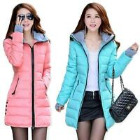 11 Farben Damenmode Kapuze Winter Midi Jacke Handschuhe Gesteppt Cotton Down Süß