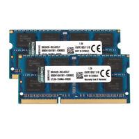 2pcs For Kingston 8GB 2RX8 PC3-12800S DDR3 1600MHz 1.5V SODIMM RAM Memory Laptop