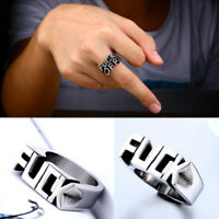 Unisex Women Men Stainless Steel FUCK-OFF Punk Finger Rings Gothic Jewelry Gift