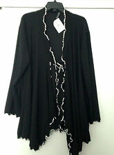 Ladies Tie Front Black Cardigan /White Trim Ruffle / Attached Belt- Size EUR 58