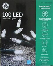 NEW GE 100 LED Miniature Lights Energy Smart Pure White Holiday Party 33 Ft