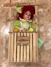 "Seymour Mann American Sweetheart Clown Doll Lemonade Stand Wood 20"" Porcelain"