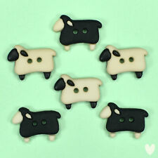 29mm x 21mm Colourful Cute Lamb Buttons 8 Wooden Sheep Buttons Mixed Colours