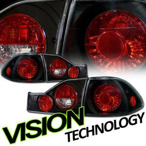For 98-00 Honda Accord 4Dr Sedan Black Clear Lens Altezza Taillights Taillamp v2