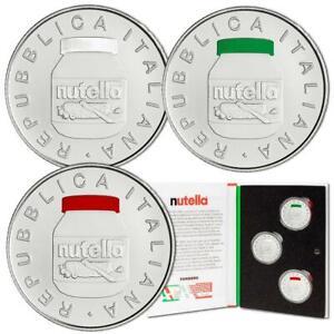 Italien - 3 x 5 Euro 2021 - Nutella-Satz - 3 Werte - 54 gr Silber ST - in Farbe