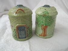 Vintage Japan porcelain Salt & Pepper Shakers round Cottage blue door tree ivy