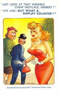 POSTCARD COMIC  GIRL - BIG BOOBS - CHEAP NECKLACE - DISPLAY  - BAMFORTH  # 1654