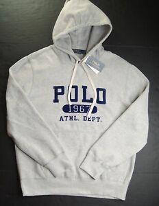 POLO RALPH LAUREN Men's Grey POLO 1967 ATHL. DEPT. Fleece Pullover Hoodie NWT