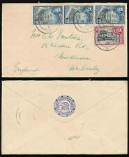 CEYLON 1938 GRAND ORIENTAL HOTEL ELEPHANT ENVELOPE 20c to DERBY GB