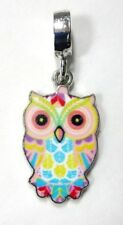 Cloisonne Owl Pendant Jewelry Making Pastel Silver Tone NEW Charm Yellow