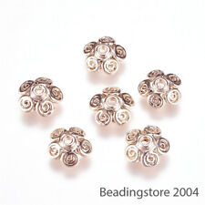 10pcs Unfading Alloy Flower Bead Caps 5-Petal Bali Style Rose Gold Plated 10x3mm