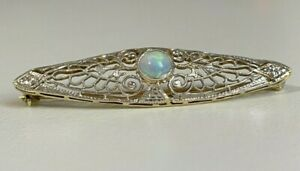 Antique 14ct Solid Gold & Opal Filigree Brooch Pin 3.75g / 46mm