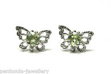 9ct White Gold Peridot Stud earrings filigree Butterfly Gift Boxed