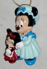 """Disney 2 1/2"""" Minnie Mouse Figurine in Blue with Baby Mouse - Use as Cake Topper"""