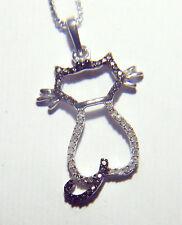 LOVELY SIERRA DIAMONDS 1/10 TOTAL DIAMOND WEIGHT STERLING SILVER CAT PENDANT