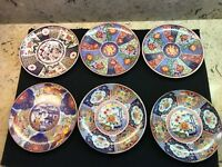 """LOT OF 6 IMARI WARE DECORATIVE PLATES WITH HANGERS JAPAN EACH IS 6.25"""""""