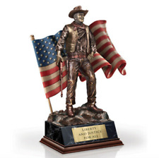 Bradford Exchange John Wayne Statue, American Flag, Liberty & Justice For All