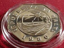 RARE PROOF 1980 MALTA 25 CENTS  LOW LOW MINTAGE Strike with new Holder.