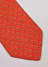 Salvatore Ferragamo Corbata De Seda Naranja Verde Abstracto Diseñador Hombres