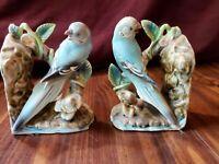 Pair/Set Porcelain PARAKEET BOOKENDS UCAGCO Ceramics Japan Blue & White w/ Vine