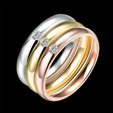 Wedding Fashion Gold Filled Stainless Steel Cubic Zircon Women's Rings 3pcs