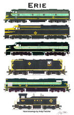 """Erie Railroad Locomotives 11""""x17"""" Railroad Poster by Andy Fletcher signed"""