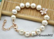 "Chic  8"" 10mm white round fresh water pearl bracelet"