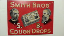 """Sign - embossed metal - Smith Bros S.B. Cough Drops 11.5"""" x 8.5"""""""