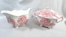 Johnson Brothers England Red Pink English Chippendale Sugar Bowl w/lid & Creamer
