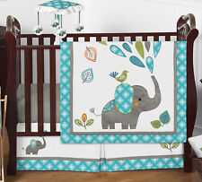 Blue Grey Mod Elephant Baby Boy Girl 4pc Nursery Crib Bedding Set by Sweet Jojo