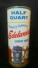 EDELWEISS CHEERY-BEERY LIGHT BEER HALF QUART MID 1950'S 16OZ FLAT TOP - CHICAGO