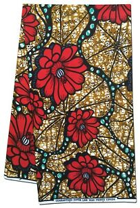 African Fabric Beautiful Floral Wax Print Sold Per Yard Sewing Crafts Quilts