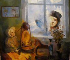 Original Russian oil on canvas USSR Socialist realism Painting still life 2015