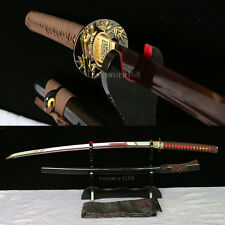 hand forge red damascus&folded steel blade japanese Katana samurai real sword.