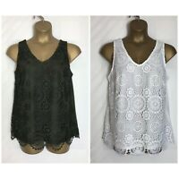Dorothy Perkins Ivory or Khaki Lace Sleeveless Plus Size Top 18 - 28  (dp-30h)