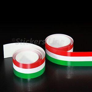 2PZ Fascia adesiva TRICOLORE 120X2,5 striscia adesiva italia bandiera italiana