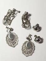 Lot of 3 Vintage Silver Tone Clip on Screw Back Earrings Birdcage Dangle Stateme