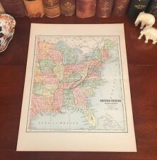 Original 1882 Antique Map EAST UNITED STATES AMERICA Railroad Steamship Routes