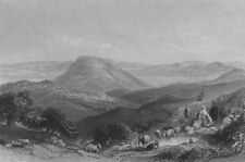 ISRAEL. Mount Tabor, Gilboa & Jordan. Bartlett 1847 old antique print picture
