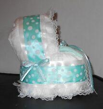 Mint Green White Diaper Cake Bassinet Baby Shower Gift Centerpiece