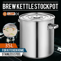 37 qt Stainless Steel Beer Stock Pot With Domed Cooking Pot For Boiling