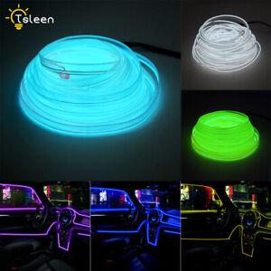 Flat EL Wire LED Neon Light Strip 2m/5m With Power Driver Car Bike Party Decor
