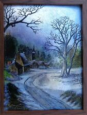 Lovely Circa 1900 Enamel On Copper Cozy Village Winter Cometh Limoges Painting !