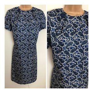 Vintage 1960's Blue & White Floral Paisley Short Sleeve Nylon Shift Dress 14