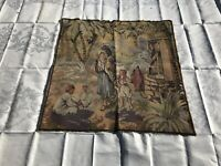 Antique French Belgium Tapestry Rebecca At The Well Bible Scene 36'' X 36'' RARE