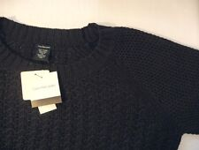 NEW Calvin Klein Jeans Women's Textured Knit Crew Neck Sweater Black S