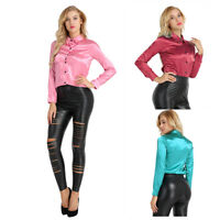 Women Satin Slim Blouse Lady Light Weight Long Cuff Sleeve Button Down Shirt